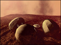 Beagle 2 on Mars with three gas-filled bags